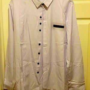 White/Black Accented L/S Button Down Dress Shirt
